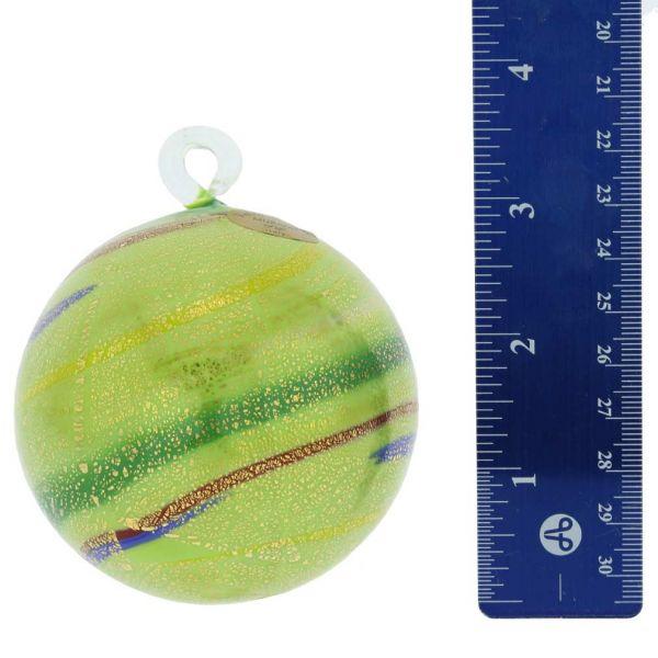 Murano Glass Medium Christmas Ornament - Green Swirls