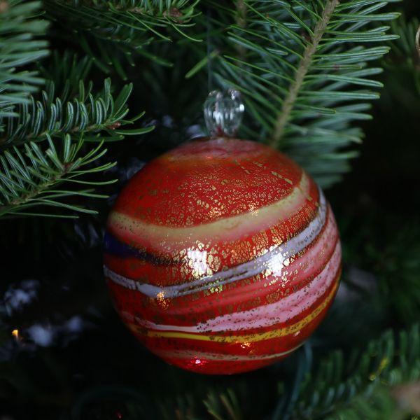Murano Glass Medium Christmas Ornament - Red Swirls