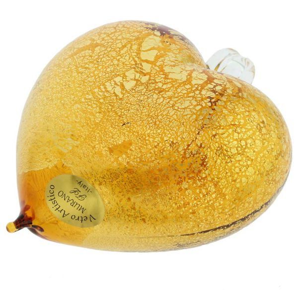 Murano Glass Heart Christmas Ornament - Golden Brown