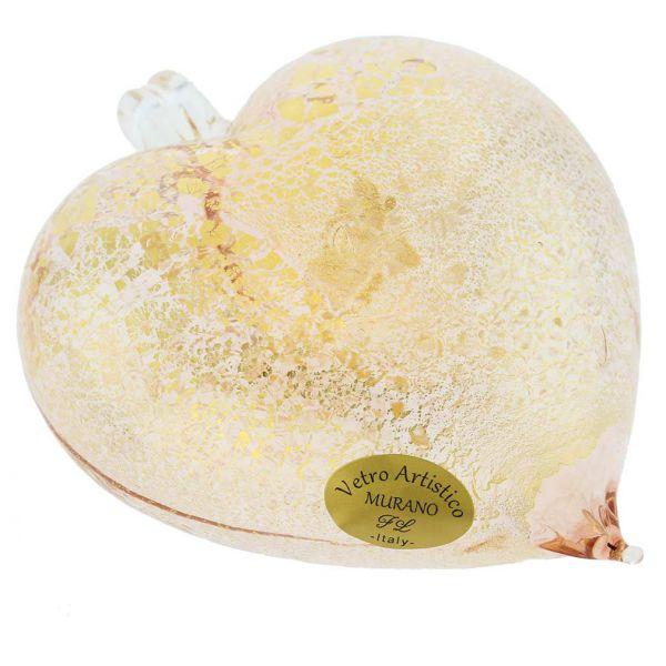 Murano Glass Heart Christmas Ornament - Pink Gold