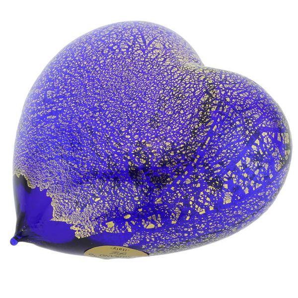 Murano Glass Blue Gold Heart