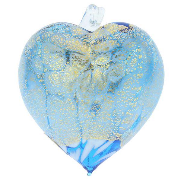 Murano Glass Spotted Heart Christmas Ornament - Aqua Gold