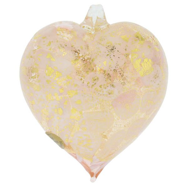 Murano Glass Spotted Heart Christmas Ornament - Pink Gold