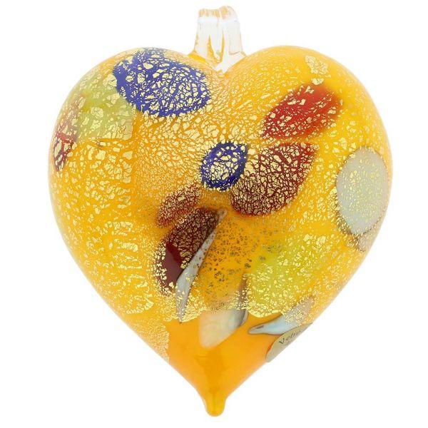 Murano Glass Heart Christmas Ornament - Yellow Gold