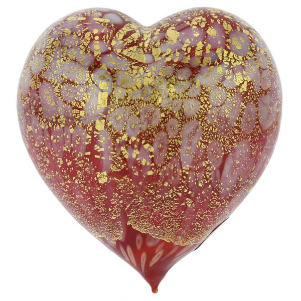 Murano Glass Red Gold Spotted Heart