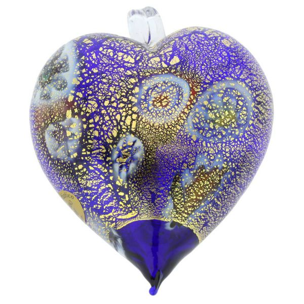 Murano Glass Heart Millefiori Christmas Ornament - Blue Gold
