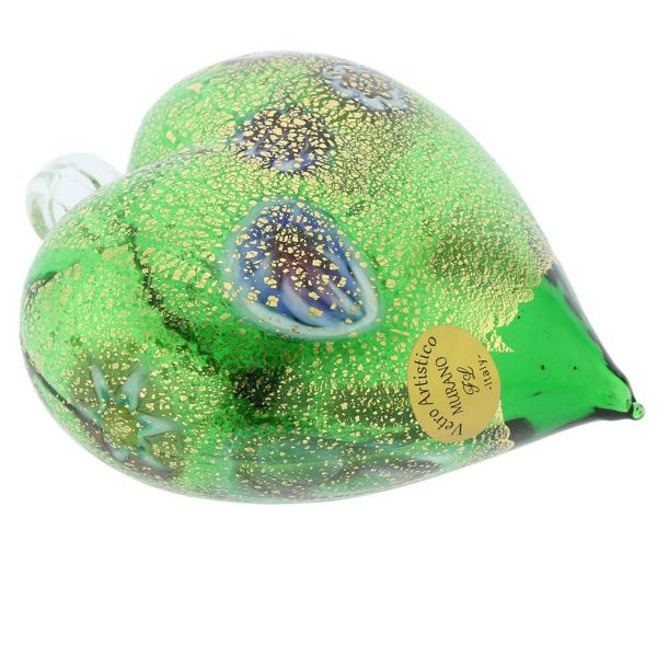 Murano Glass Heart Millefiori Christmas Ornament - Green Gold