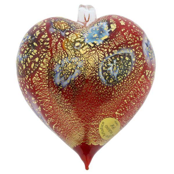 Murano Glass Heart Millefiori Christmas Ornament - Red Gold