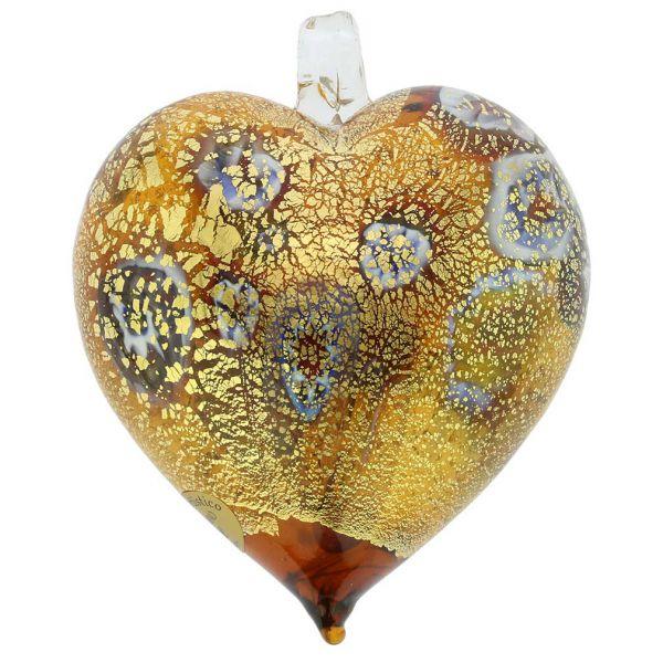 Murano Glass Heart Millefiori Christmas Ornament - Topaz Gold