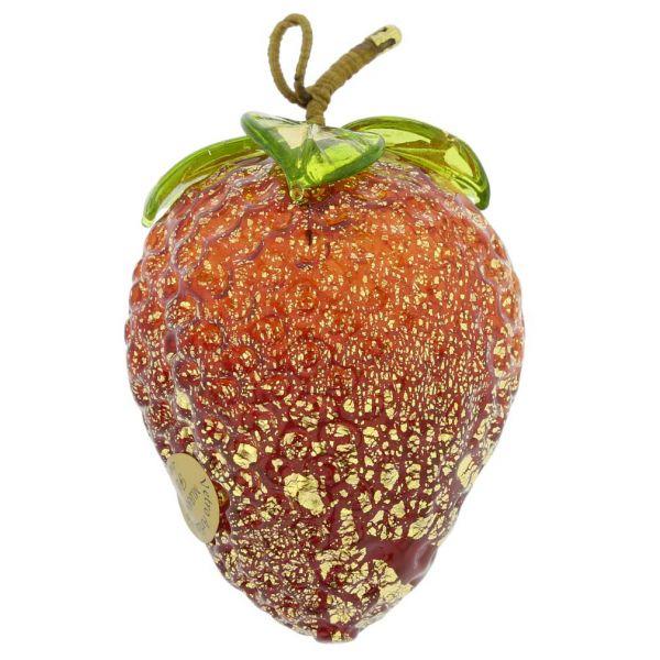 Murano Glass Strawberry Hanging Figurine