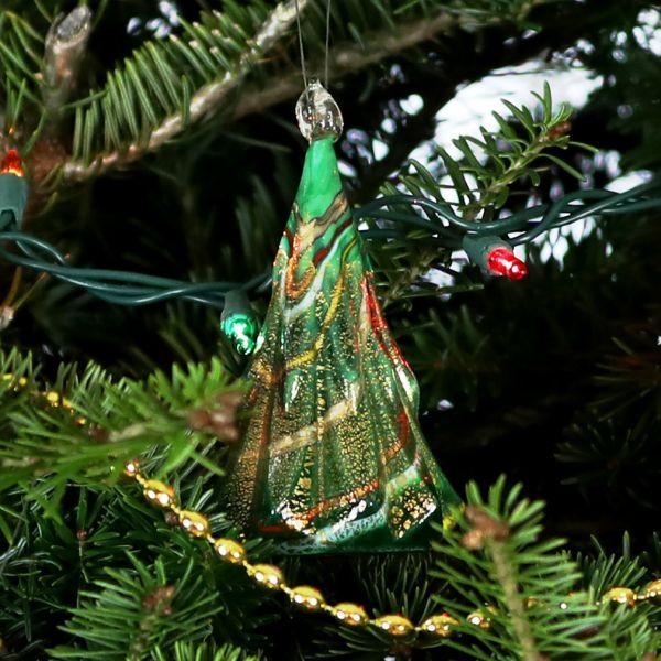 Murano Glass Christmas Tree Hanging Figurine - Green