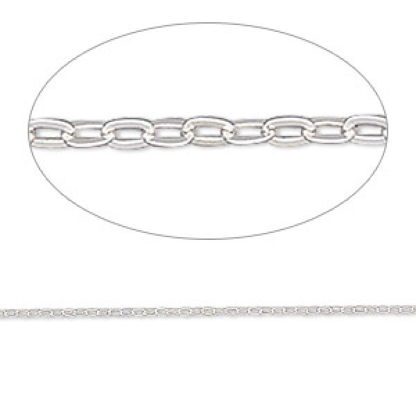 Sterling Silver Round Cable Chain, 1mm Links - 20 Inches