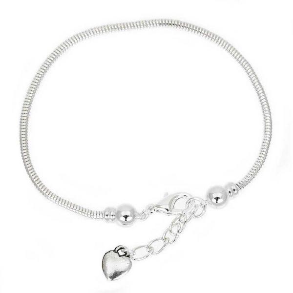 Silver-Plated Snake Chain Charm Bead Bracelet