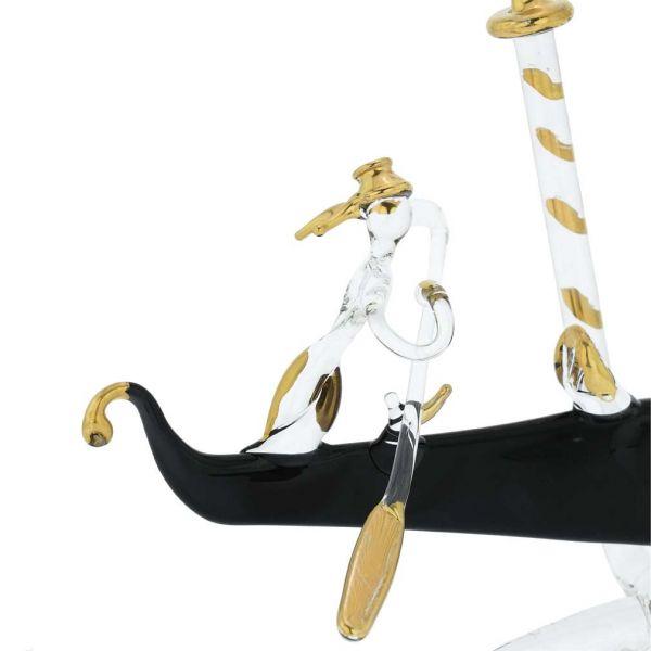 Murano Glass Flat Gondola With Gondolier - Medium