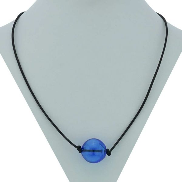 Murano Glass Blown Ball Necklace - Blue