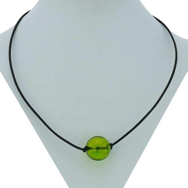 Murano Glass Blown Ball Necklace - Green