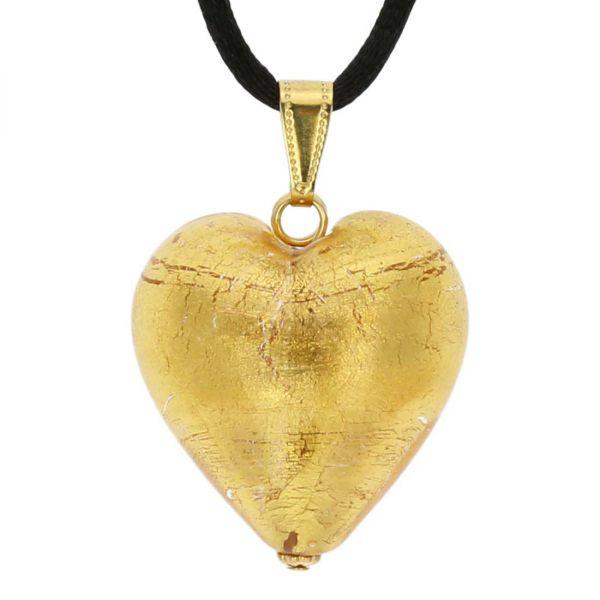 Murano Heart Pendant - Rose Gold