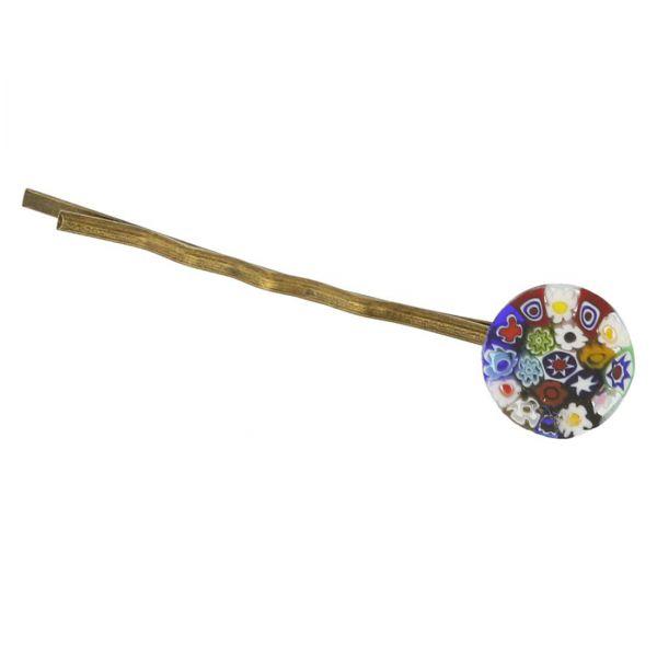 Millefiori Hair Pin - Round Multicolor