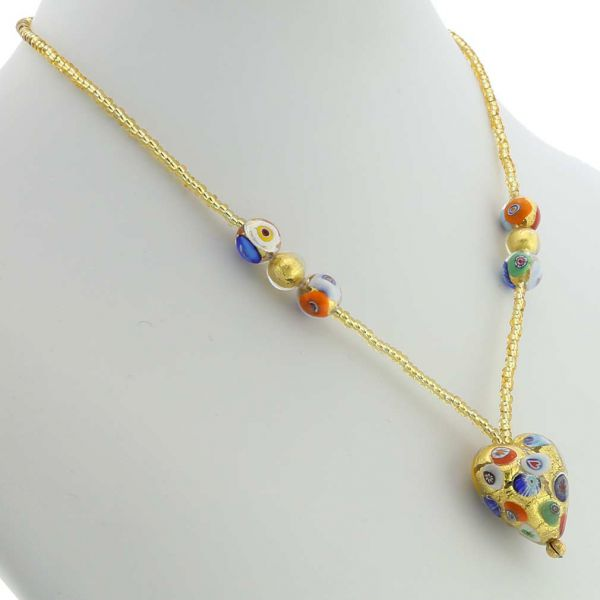 Murano Heart Necklace - Klimt