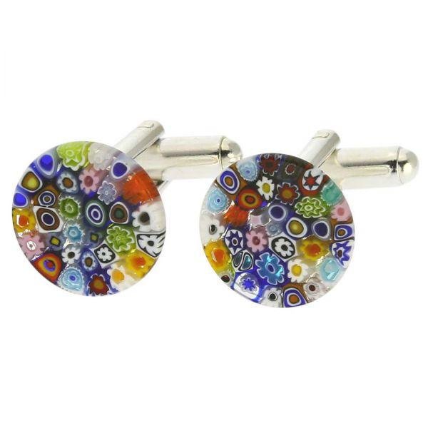 Color Splash Murano Millefiori Cufflinks - 1/2 Inch