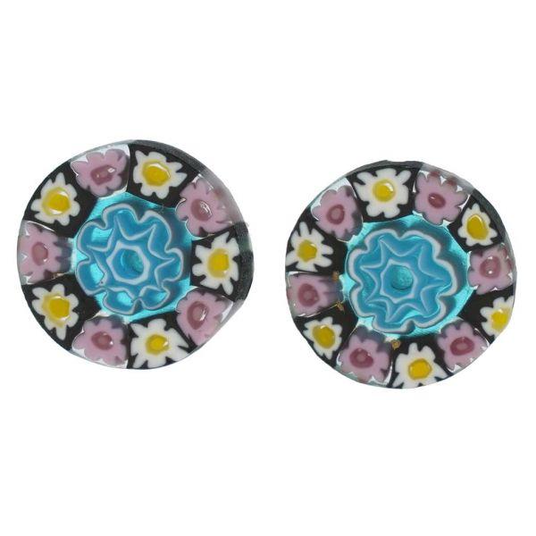 Millefiori Stud Earrings - Round