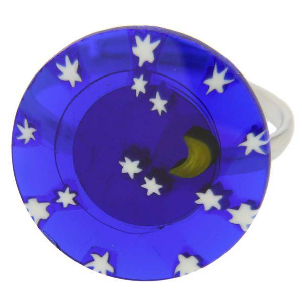 """Murano Millefiori \""""Starry Night\"""" Ring 3/4 Inch"""