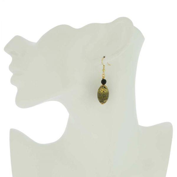Golden Glow Olives Earrings - Summer Night