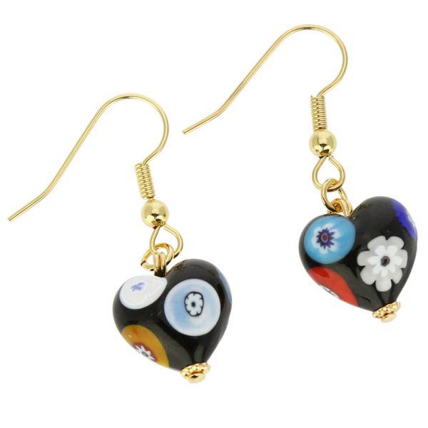 Murano Mosaic Millefiori Heart Earrings
