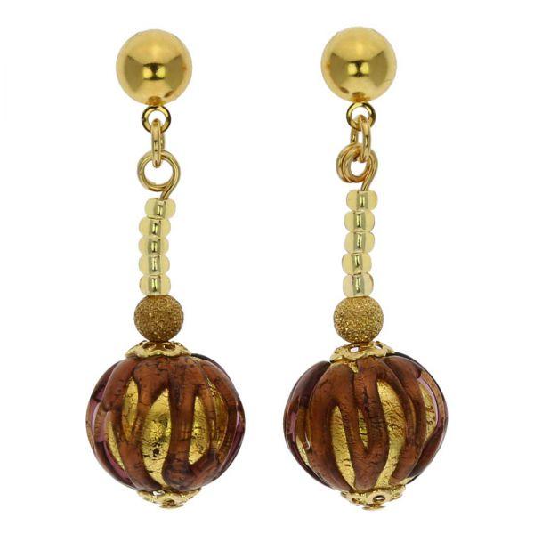 Canaletto Earrings - Gold Dark Topaz