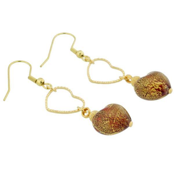 Ca D\'Oro Venetian Heart Earrings - Red