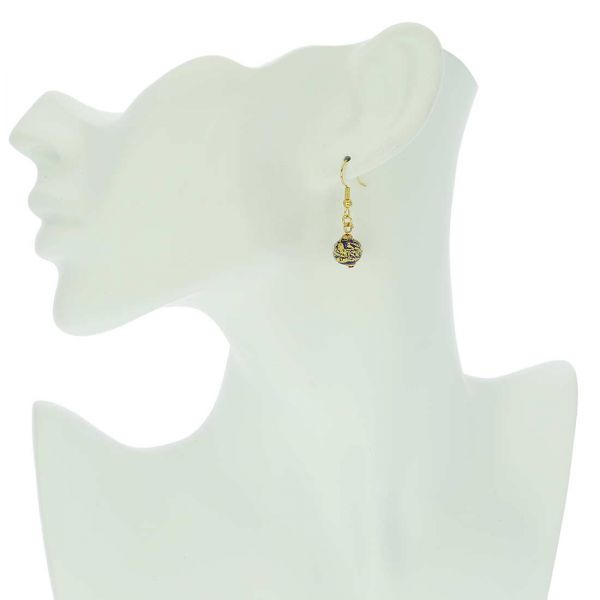 Golden Glow Earrings - Navy Blue