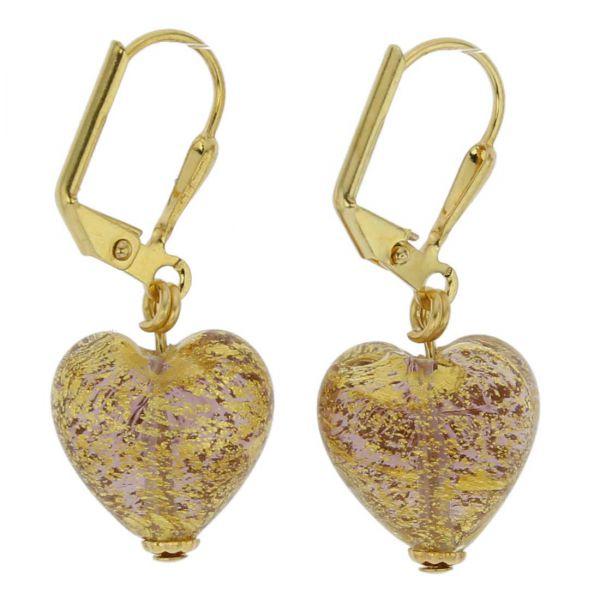 Ca D\'Oro Murano Heart Earrings - Purple