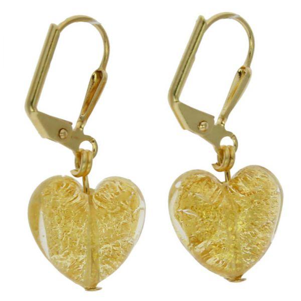 Ca D\'Oro Murano Heart Earrings - Yellow Gold