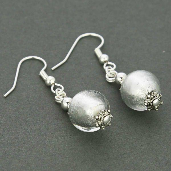 Antico Tesoro Balls Earrings - Silver White