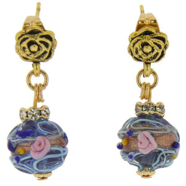 Magnifica Antique Stud Balls Earrings - Blue