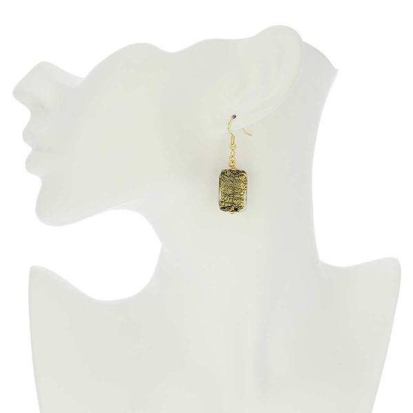 Vivaldi Murano Earrings - Black and Gold