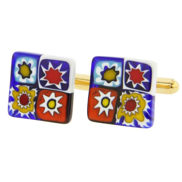 Murano Millefiori Square Cufflinks - Classic Multicolor