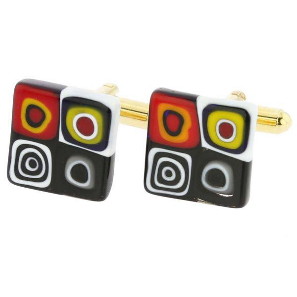 Murano Millefiori Square Cufflinks - Trendy Multicolor