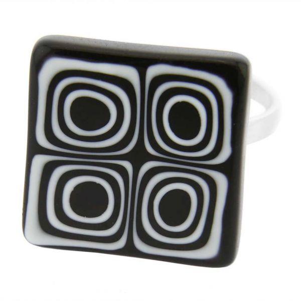 Murano Mosaic Millefiori Square Ring - Black and White