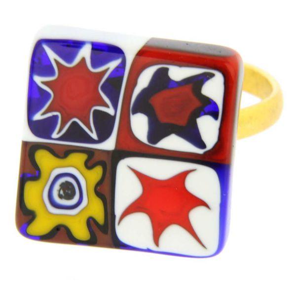 Color Splash Millefiori Square Ring - Multicolor
