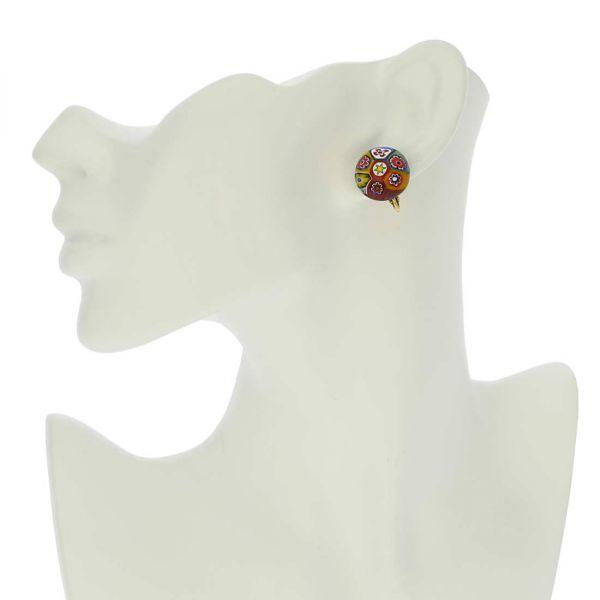 Color Splash Millefiori Clip Earrings - Multicolor
