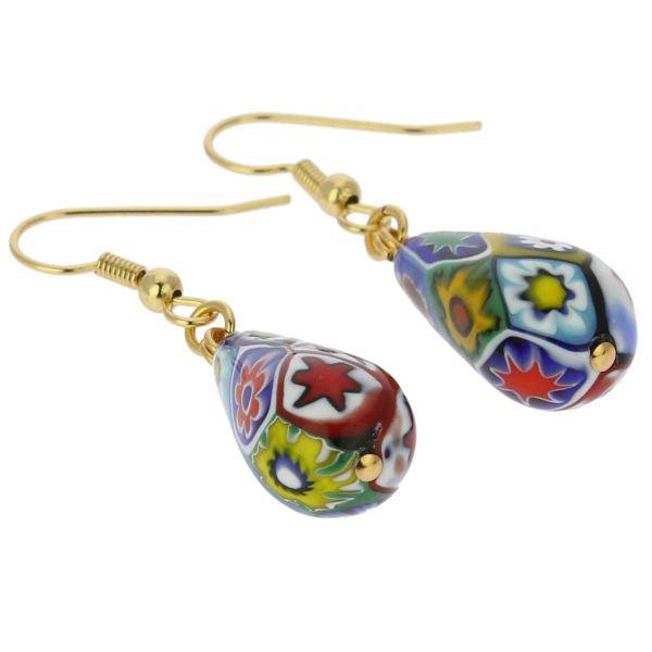 Murano Mosaic Millefiori Drop Earrings - Gold
