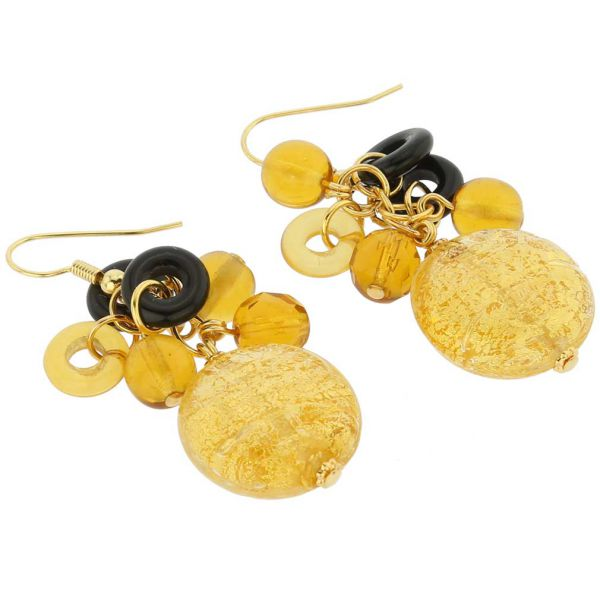 Autumn Colors Gold Foil Murano Dangle Earrings