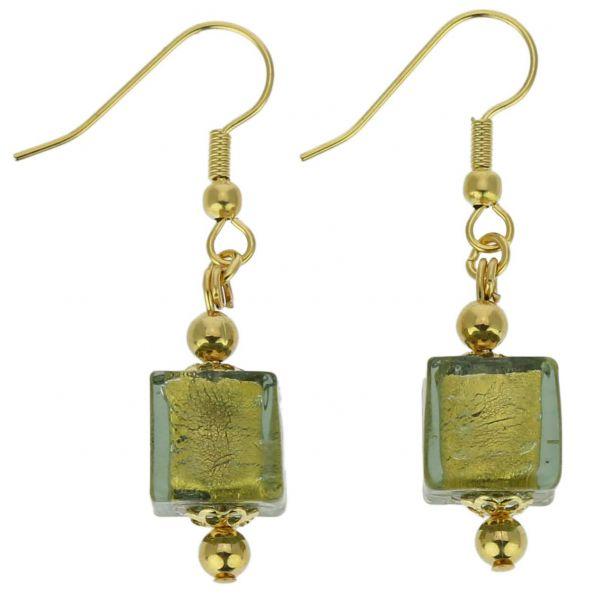 Antico Tesoro Cubes Earrings -Olive Green
