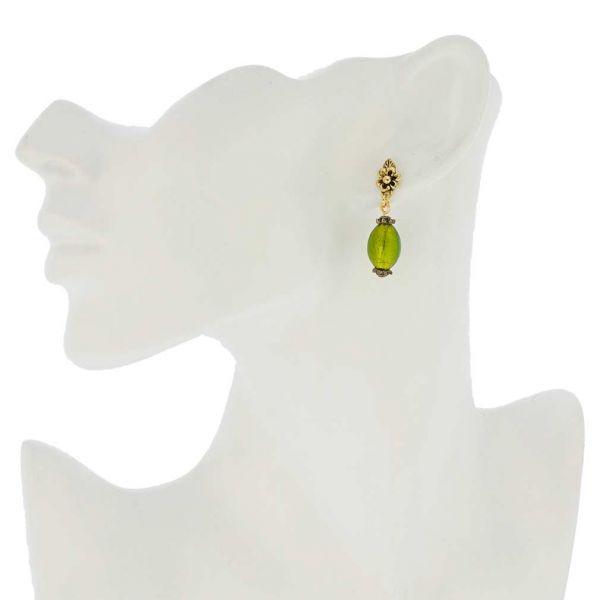 Antico Tesoro Olives Earrings -Lime Green