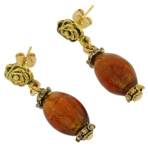 Antico Tesoro Olives Earrings -Dark Topaz