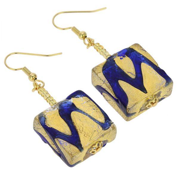 Royal Blue Squares Earrings
