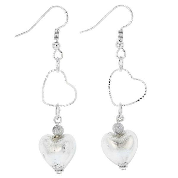 Venetian Wedding Heart Earrings - Silver Ice