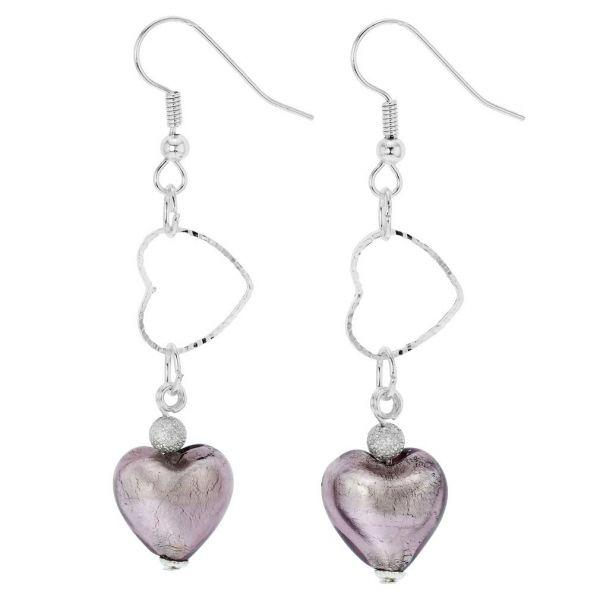 Venetian Wedding Heart Earrings - Purple