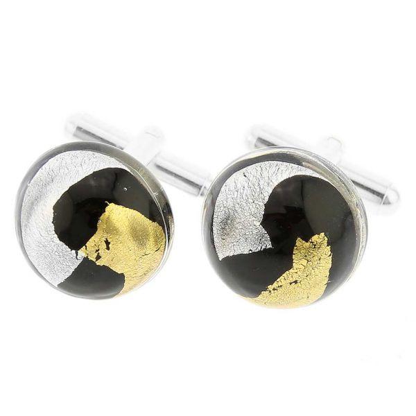 Gold and Silver Murano Cufflinks